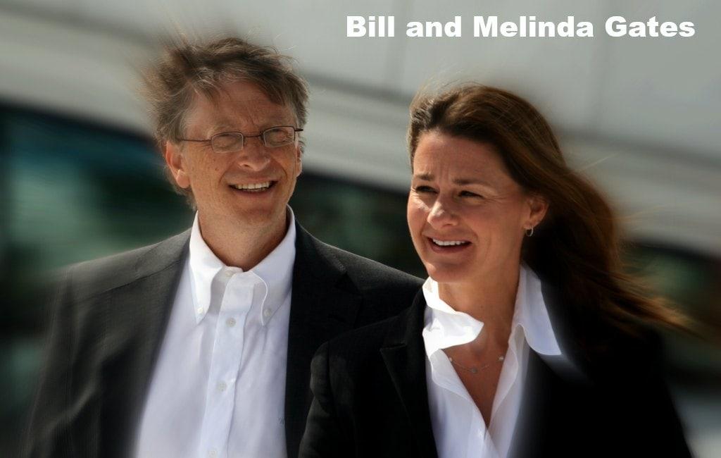 Bill Melinda Gates together black suit white shirt