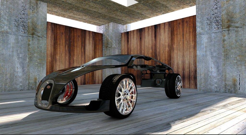 prototype bugatti car model black