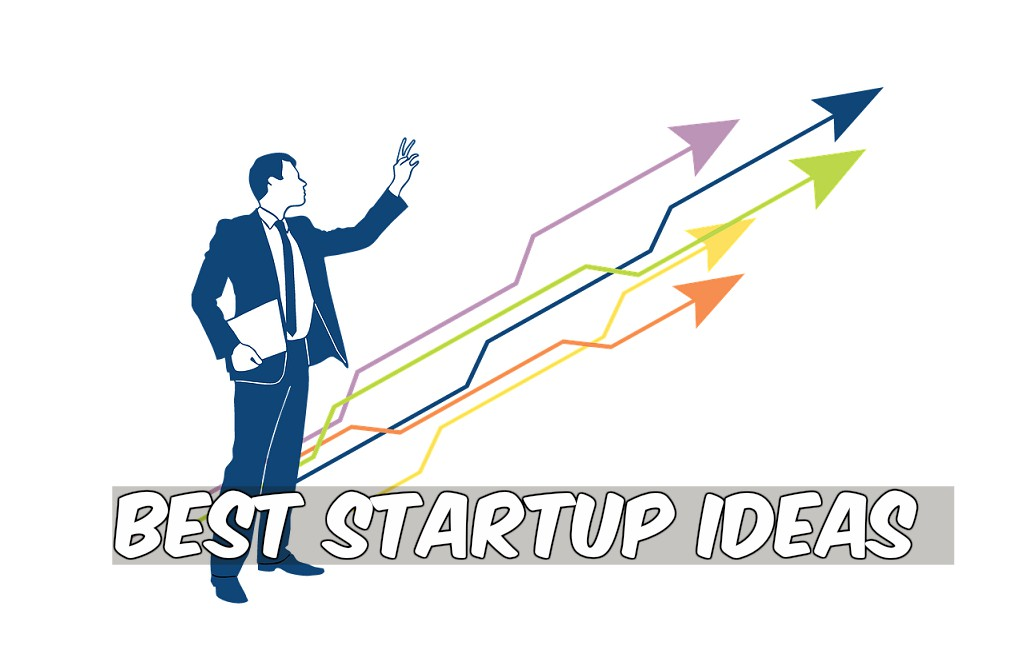 best startup ideas man standing profit arrows rise