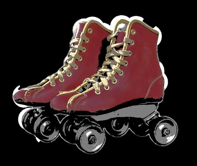 roller skates, red skates