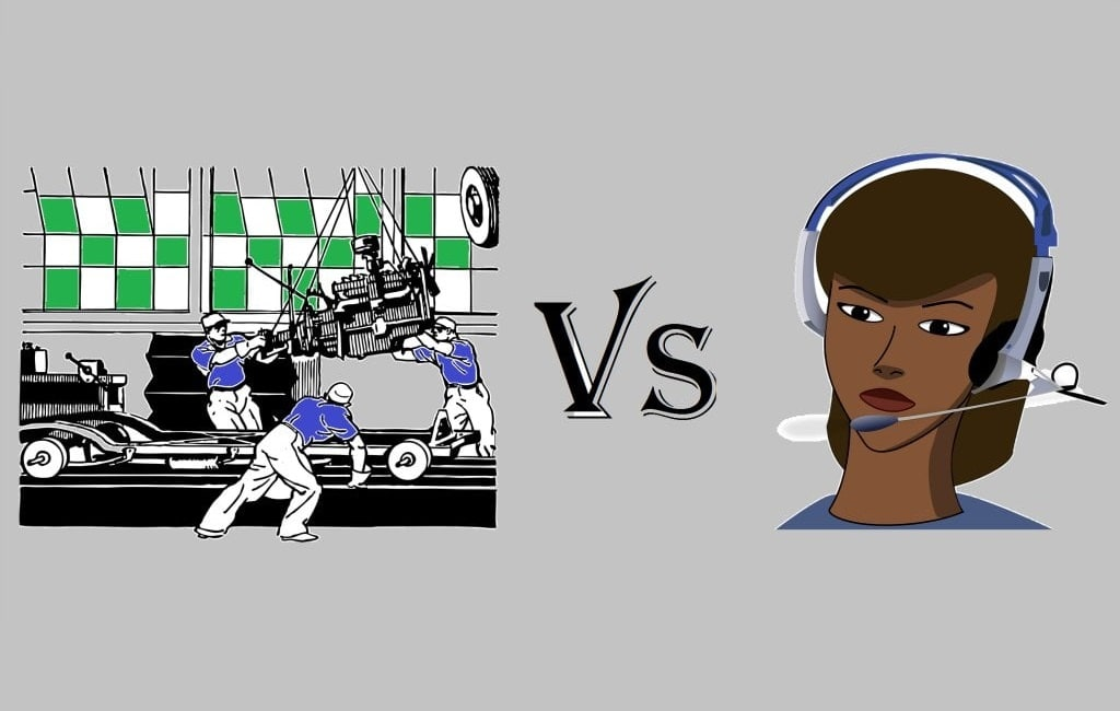 service based vs manufacturing based industry difference clipart