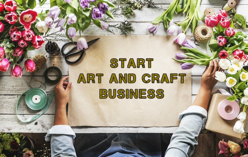 start art and craft business, flower, chat paper, man hands