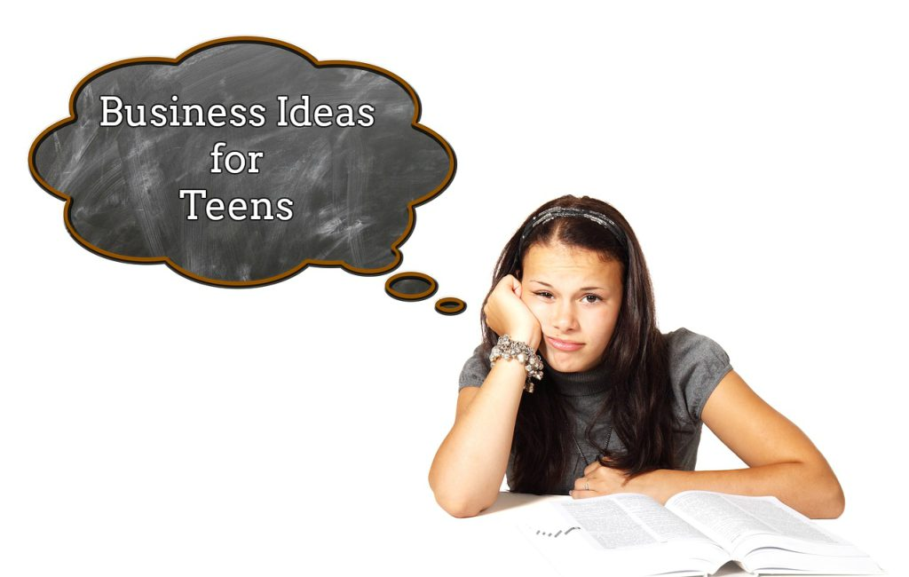 girl sitting on chair in front of book thinking about business ideas for teens